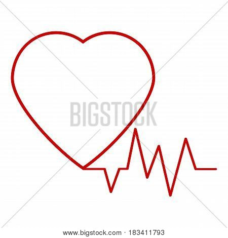 Vector heartbeat heart beat icon with cardiogram line wave. Logo