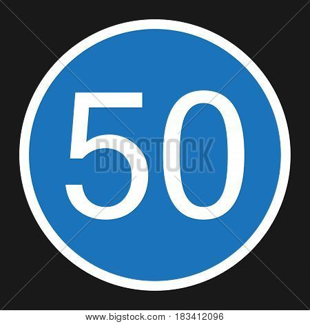 Minimum Speed Sign 50 flat icon, Traffic and road sign, vector graphics, a solid pattern on a black background, eps 10
