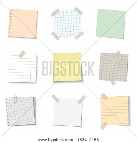 vector set of realistic paper memo sheets