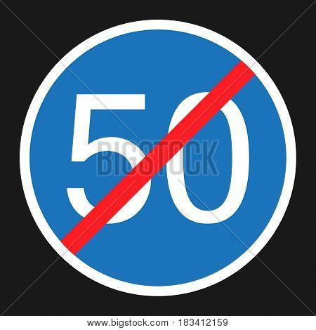 End Minimum Speed Sign 50 flat icon, Traffic and road sign, vector graphics, a solid pattern on a black background, eps 10