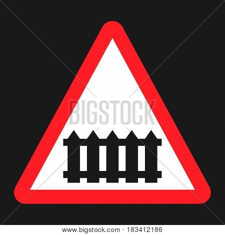Railroad crossing with barrier sign flat icon, Traffic and road sign, vector graphics, a solid pattern on a black background, eps 10