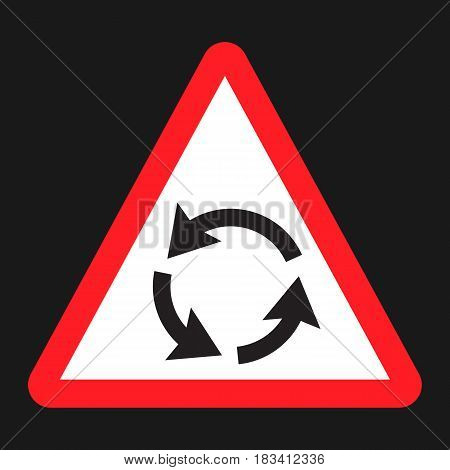 Roundabout sign flat icon, Traffic and road sign, vector graphics, a solid pattern on a black background, eps 10