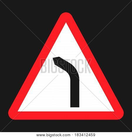 Bend to left warning sign flat icon, Traffic and road sign, vector graphics, a solid pattern on a black background, eps 10