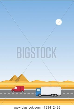 Truck on the road. Desert with pyramids landscape. Two heavy trailer trucks. Logistic and delivery concept. Vector illustration.