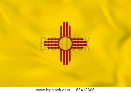 New Mexico Waving Flag. New Mexico State Flag Background Texture.