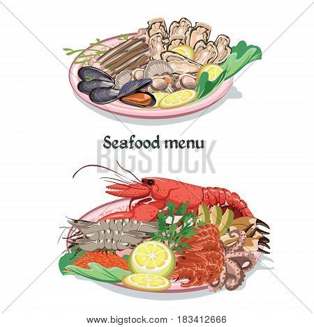 Sketch colorful seafood menu concept with shrimp octopus shellfish lobster oyster scallop mussel products on plates vector illustration