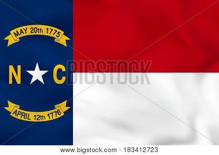 North Carolina Waving Flag. North Carolina State Flag Background Texture.