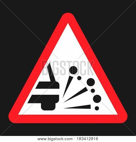 Loose chippings and gravel flat icon, Traffic and road sign, vector graphics, a solid pattern on a black background, eps 10