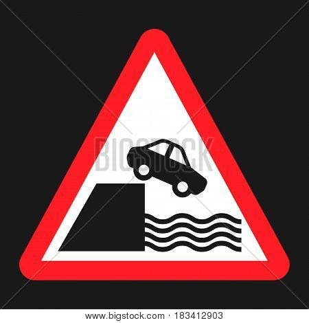 Embankment sign flat icon, Traffic and road sign, vector graphics, a solid pattern on a black background, eps 10