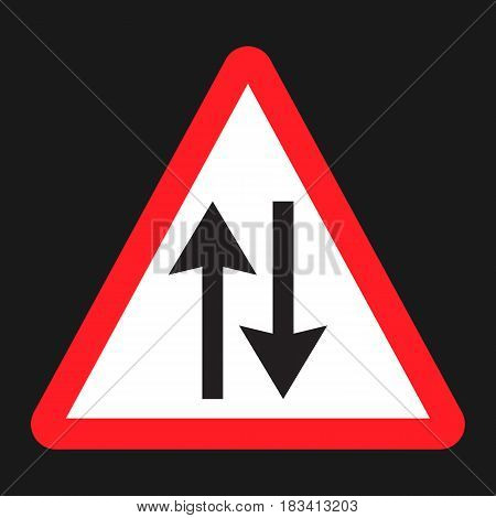 Two way traffic sign flat icon, Traffic and road sign, vector graphics, a solid pattern on a black background, eps 10