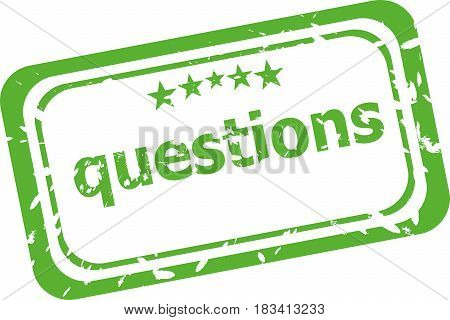 Questions Grunge Rubber Stamp Isolated On White Background