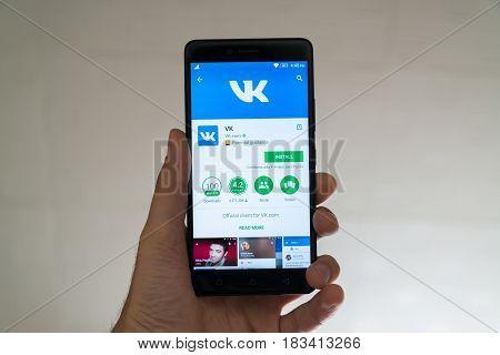 Paris, France, april 22, 2017: Vkontakte application on google play store on smartphone