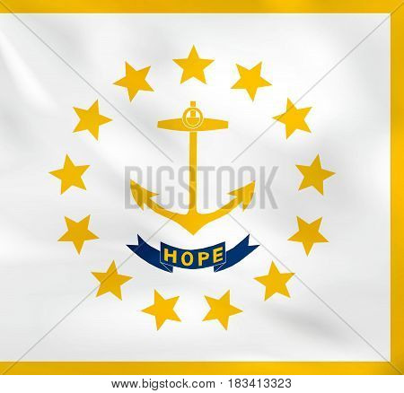 Rhode Island Waving Flag. Rhode Island State Flag Background Texture.