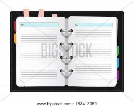 vector illustration of realistic notebook on grey background