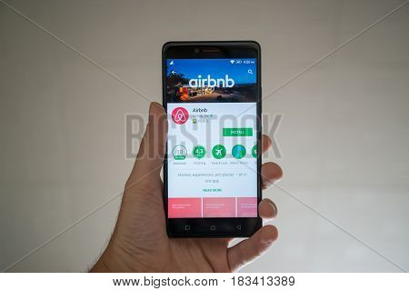 Paris, France, april 22, 2017: Airbnb application on google play store on smartphone