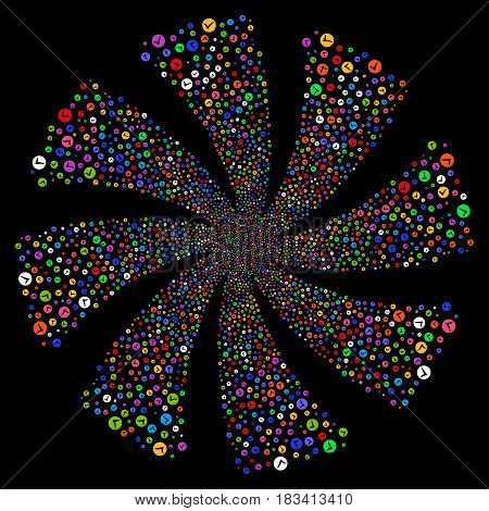Apply fireworks swirl rotation. Vector illustration style is flat bright multicolored iconic symbols on a black background. Object flower created from random design elements.