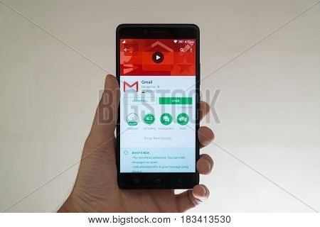Paris, France, april 22, 2017: Gmail application on google play store on smartphone