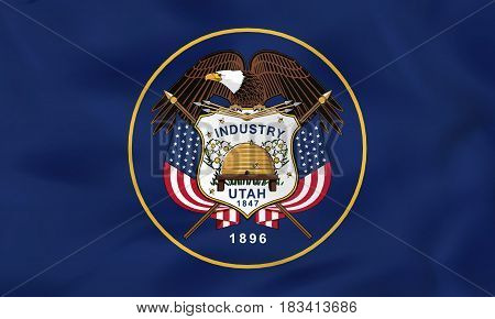 Utah Waving Flag. Utah State Flag Background Texture.