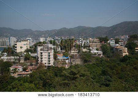 Acapulco de Juarez, Mexico, circa february 2017: View on the Acapulco de Juarez city in Mexico