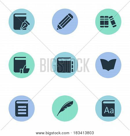 Vector Illustration Set Of Simple Education Icons. Elements Encyclopedia, Alphabet, Sketchbook And Other Synonyms Sketchbook, Alphabet And Dictionary.