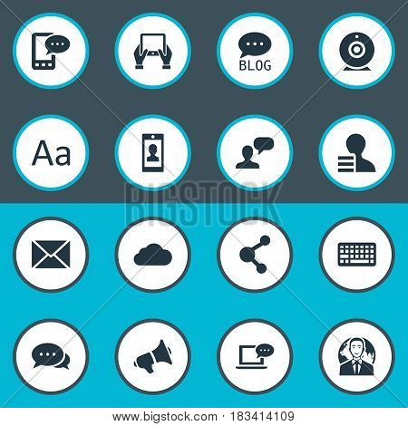 Vector Illustration Set Of Simple User Icons. Elements Overcast, Laptop, Loudspeaker And Other Synonyms Keyboard, Network And Laptop.