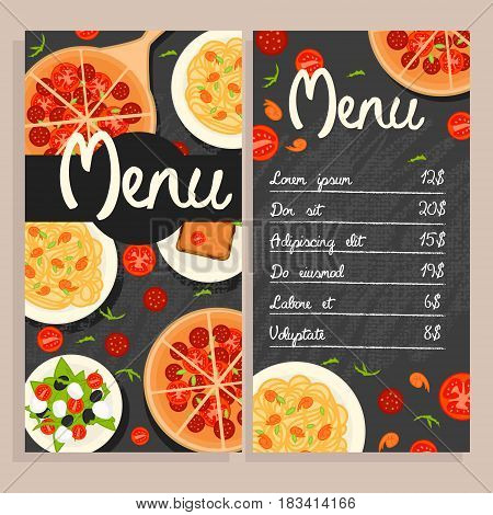 Colorful italian restaurant menu template with traditional national dishes and meals vector illustration