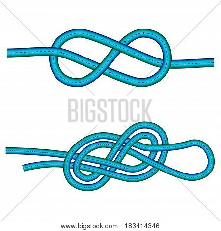 eight knot and double 8 knot instruction against white background, isolate vector art illustration