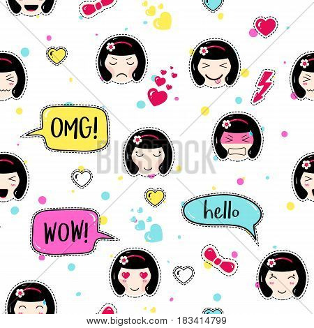 Anime style seamless pattern. Cute emoji girls. Kawaii patch badges. Tillable background for fabric, textile, craft, embroidery, scrapbook. Manga girls with speech bubbles, different faces and hair.