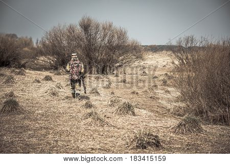 Hunter man in camouflage with gun going through rural area with dry grass and bushes during hunting