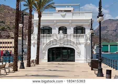 Cartagena, Spain - July 13, 2016: Former building of the yacht club in Cartagena. It was built by the architect Mario Spottorno and Sans de Andrino in 1907-1912. According to the drawings of the architect Ivan Martinez, a copy of the building was erected.