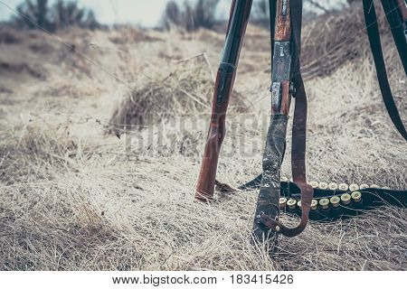 Hunting guns with ammunition belt on dry grass as hunting background