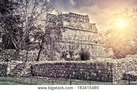 Famous pyramid ruin at Maya archaeological site Kabah of Chichen Itza in Yucatan Mexico retro effect