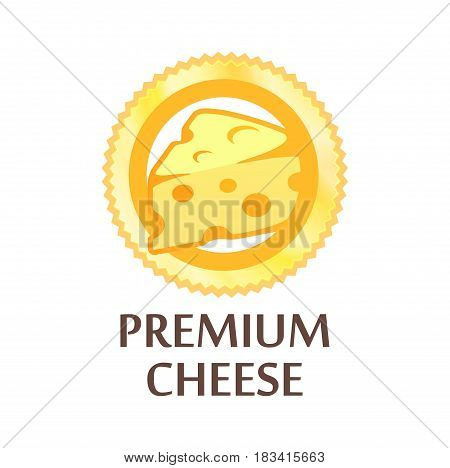 Round Emblem with Swiss Cheese Premium Quality Vector Illustration isolated on white.