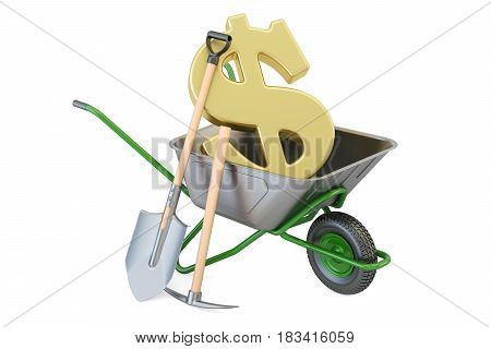 Garden wheelbarrow with dollar symbol 3D rendering isolated on white background