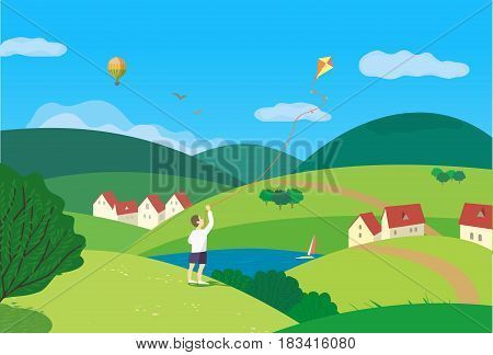 Summer nature landscape. Freehand drawn cartoon style. Vacation season leisure banner background. Outdoors vector Illustration. Green valley, hills. Country winding road. Rural community countryside