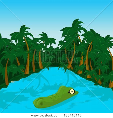 Wild crocodile in a river in the jungle