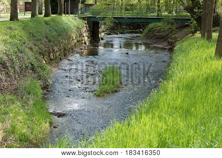 European River In A Park With Reflection On Water With Green Grass And Small Bridge On The Backgroun