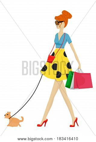 Fashion woman walking with dog and shopping bags over white background