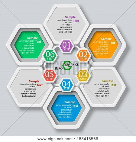 vector abstract 3d paper infographic elements.Hexagon infographics.Honeycomb design