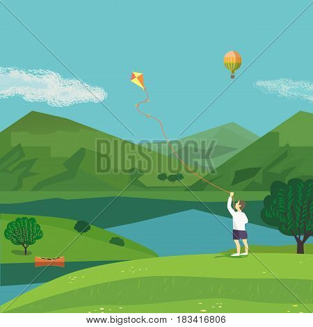 Summer nature landscape. Freehand drawn cartoon style. Boy with kite in green mountain valley on blue lake among hills. Leisure season banner background. Outdoors vector Illustration. Country scene.