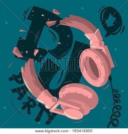 Dj Party  Design With Broken Headphones Illustration. Vector Image.
