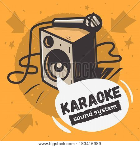 Karaoke Sound System  Music Design With A Speaker And A Microphone Illustration And A Speech Bubble For Text. Vector Graphic.