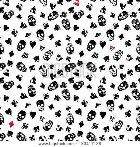 Seamless vector background with suits of playing cards and skulls. Shabby white cloth with a pattern of club diamond spade heart.