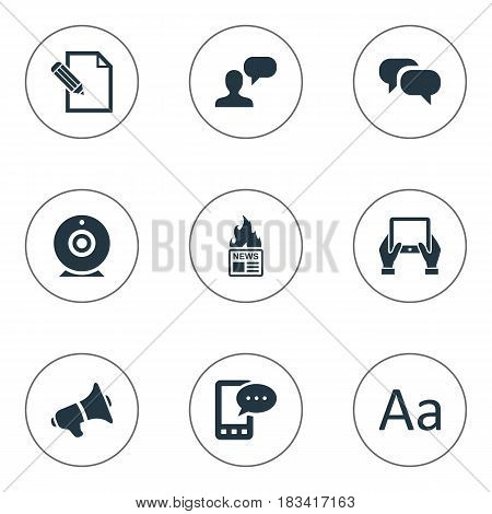 Vector Illustration Set Of Simple Blogging Icons. Elements Cedilla, Gazette, Document And Other Synonyms Hand, Tablet And Alphabet.