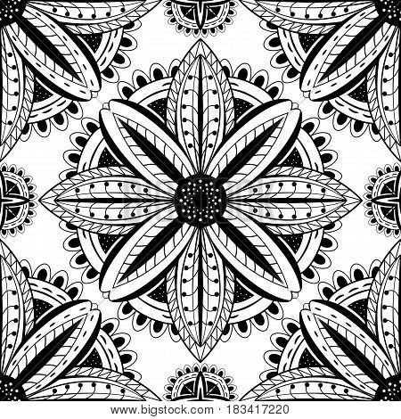 Abstract black and white pattern of mandalas. Vector ornament.