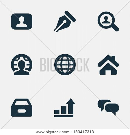 Vector Illustration Set Of Simple Trade Icons. Elements Chatting, Nib, Home And Other Synonyms Dialog, Box And World.