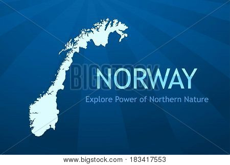 Poster or Business Card for Travel Company Tour to Norway Vector Illustration with Silhouette of Norvegian Map Title and Slogan.