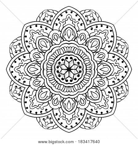 Vector mandala with abstract elements on white background. Oriental ethnic ornament. Design element.