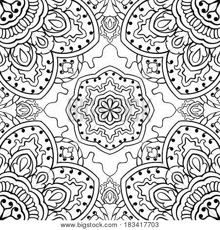 Oriental seamless pattern of mandalas. Vector black and white background. Template for textile carpet wallpaper shawl.