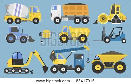 Construction equipment and machinery with trucks crane and bulldozer flat icons transport set bright yellow abstract isolated vector illustration. Industry scoop transport power build engineering.